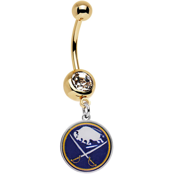 Licensed NHL Clear Gem Gold Anodized Buffalo Sabres Dangle Belly Ring