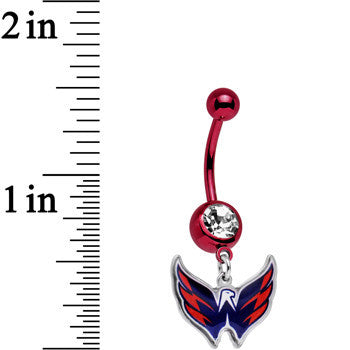 Licensed NHL Clear Gem Red Anodized Washington Capitals Belly Ring