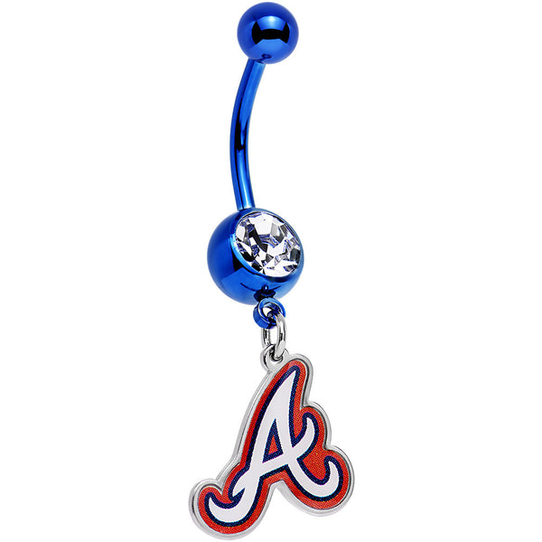 Licensed MLB Clear Gem Blue Anodized Atlanta Braves Dangle Belly Ring