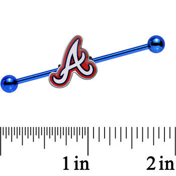 Licensed MLB Blue Anodized Atlanta Braves Industrial Barbell 38mm