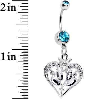 Aqua Gem Framework Heart and Flower Dangle Belly Ring