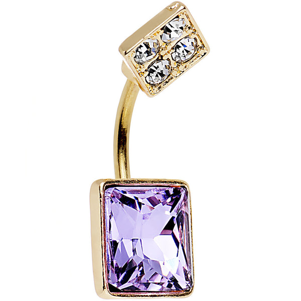 Clear Gem Gold Anodized Lovely Large Purple Square Cut Gem Belly Ring