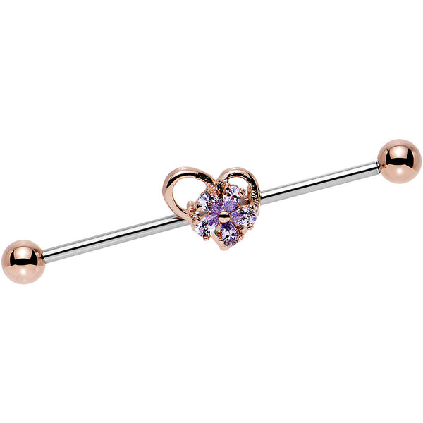 Purple CZ Steel Rose Gold Plated Heart Industrial Barbell 38mm