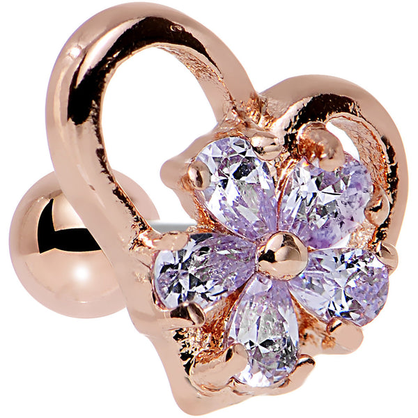Purple CZ Rose Gold Plated Heart Cartilage Earring 16 Gauge 1/4