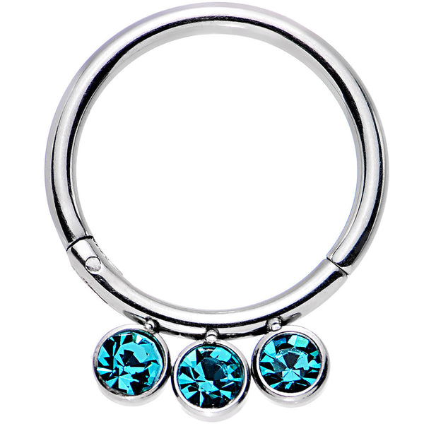 16 Gauge 3/8 Aqua Gem Stainless Steel Trio Hinged Segment Ring