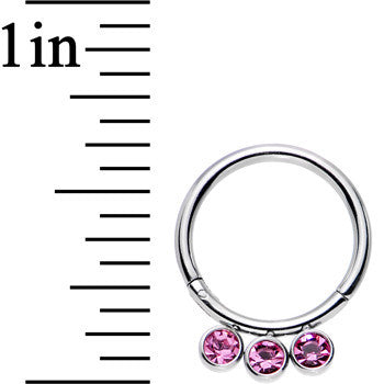16 Gauge 3/8 Pink Gem Stainless Steel Trio Hinged Segment Ring