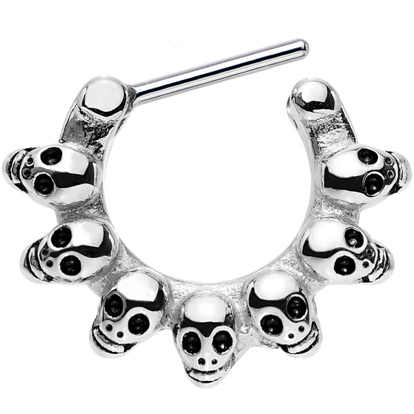 16 Gauge 5/16 Stainless Steel Macabre Skulls Septum Clicker