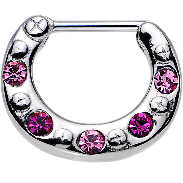 "16 Gauge 5/16"" Pink and Dark Pink Gem Septum Clicker"