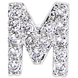 16 Gauge Clear CZ Gem Paved Initial M Tragus Cartilage Earring 1/4""