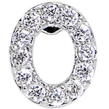 16 Gauge Clear CZ Gem Paved Initial O Tragus Cartilage Earring 1/4""