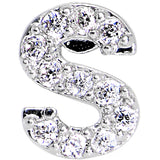 16 Gauge Clear CZ Gem Paved Initial S Tragus Cartilage Earring 1/4""