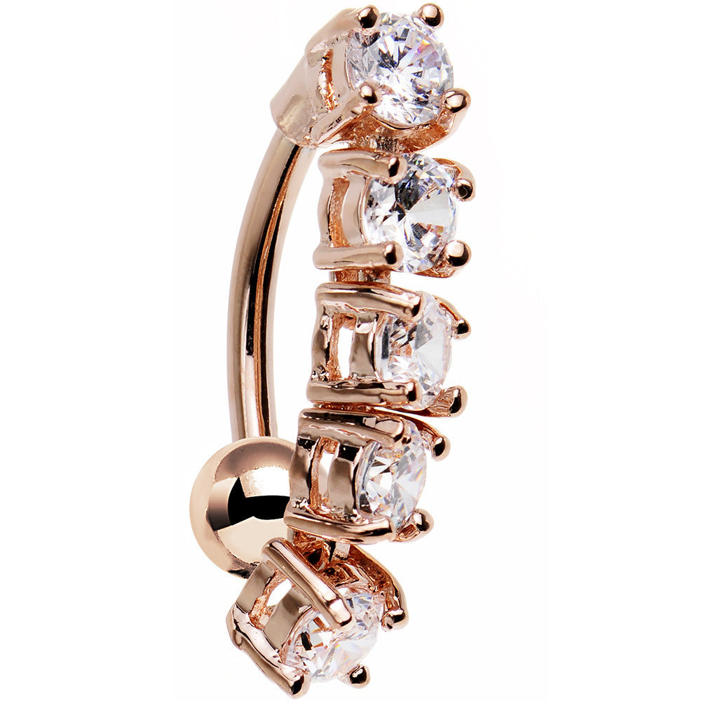 609feb5fde5dd Clear Cubic Zirconia Rose Gold Plated Cinco Top Mount Belly Ring