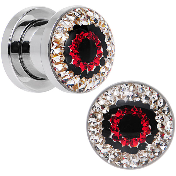0 Gauge Clear Red Black Gem Look Me in the Eye Screw Fit Plug Set