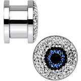 "1/2"" Clear Blue Black Gem Look Me in the Eye Screw Fit Plug Set"