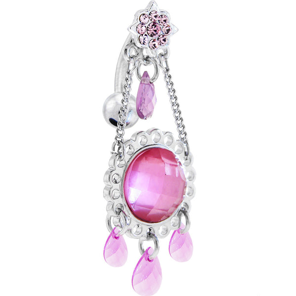 Reversible Passion Pink Gem STYLITE CHANDELIER Top Dangle Belly Ring