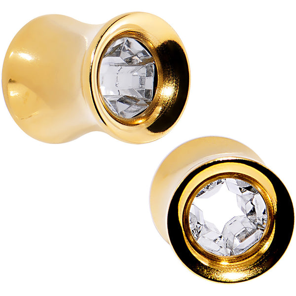 0 Gauge Clear Gem Gold IP Interior Glamour Tunnel Plug Set
