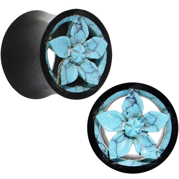 13mm Organic Iron Wood Faux Turquoise Flower Tunnel Plug Set