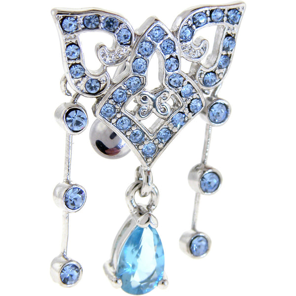 Light Blue Gem Baroque Top Mount Chandelier Dangle Belly Ring