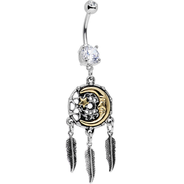 Clear Gem Moon and Star Feather Drop Dreamcatcher Dangle Belly Ring