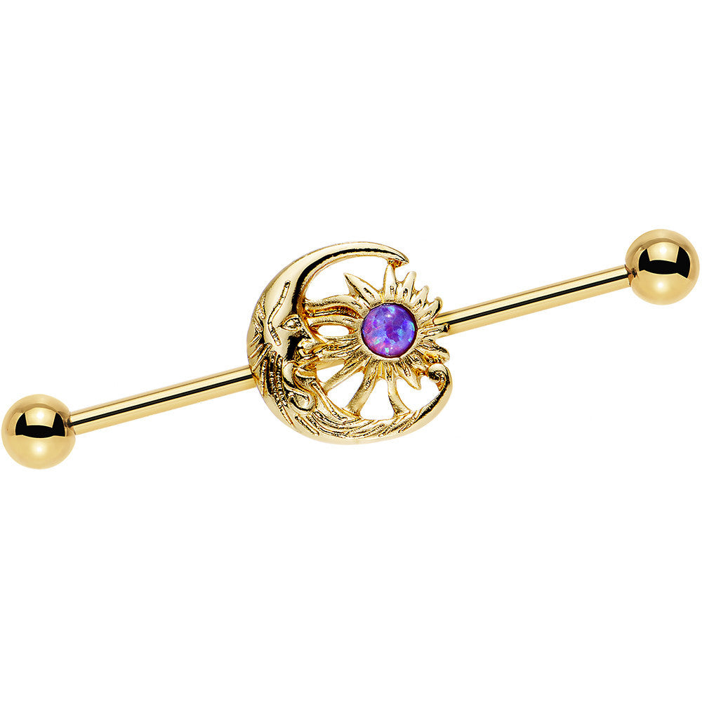 Purple Faux Opal Gold Anodized Moon and Sun Industrial Barbell 38mm