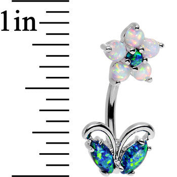 Clear Aqua Faux Opal Flourishing Flower Double Mount Belly Ring