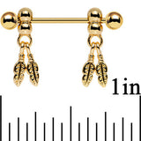 "14 Gauge .94"" Gold Anodized Fair Weather Feather Dangle Nipple Ring Set"
