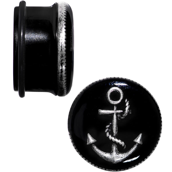 7/8 Black PVD Simply Seaworthy Anchor Single Flare Plug Set