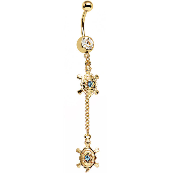 Clear Aqua Gem Gold Anodized Two Tiny Turtles Dangle Belly Ring