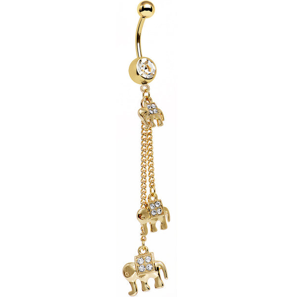 Clear Gem Gold Anodized All About Elephants Dangle Belly Ring