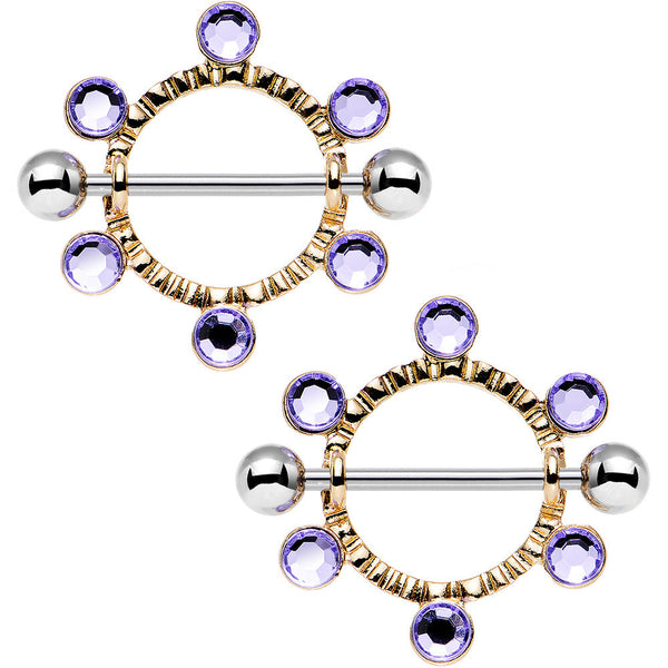 14 Gauge 3/4 Purple Gem Steel Barbell Nipple Shield Set