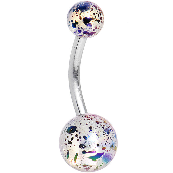 Iridescent White Acrylic Big Bottom Ball Color Splash Basic Belly Ring