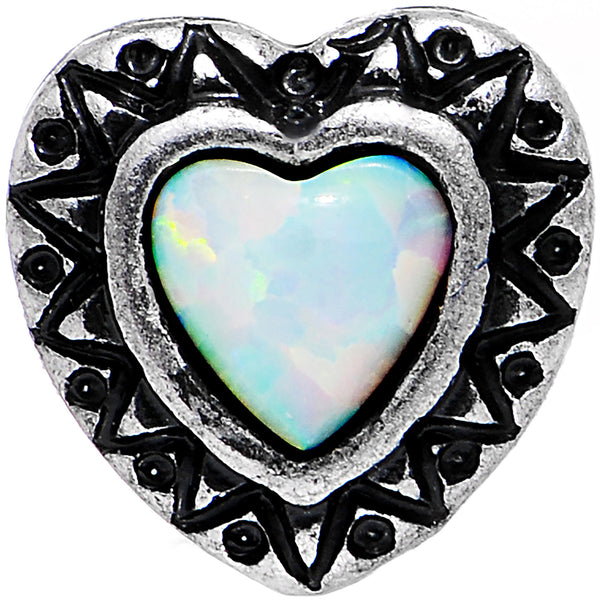 16 Gauge White Faux Opal Frame Heart Tragus Cartilage Earring