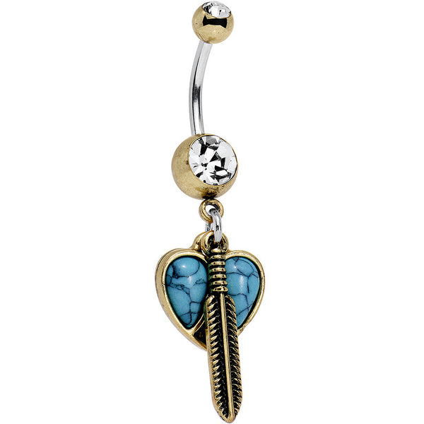 Faux Turquoise Clear Gem Heart Forever Feather Dangle Belly Ring