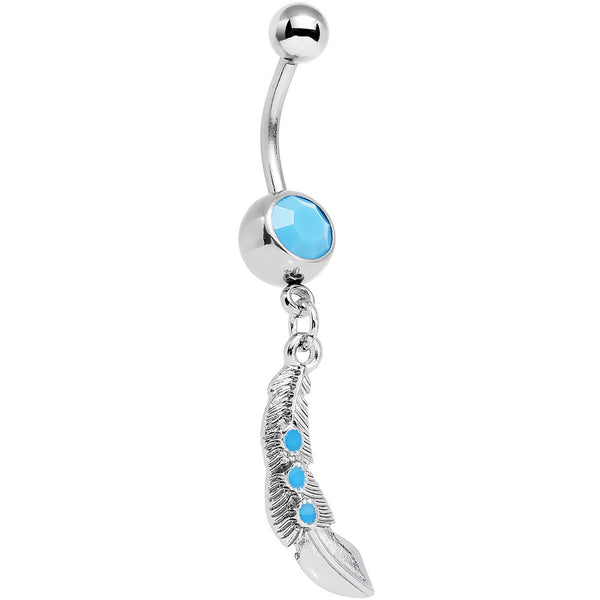 Faux Turquoise Falling Faster Feather Dangle Belly Ring