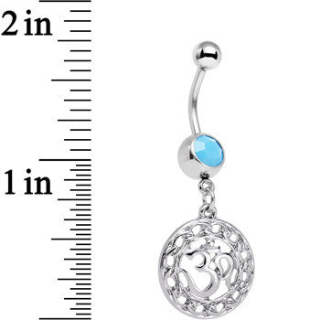 Faux Turquoise Circular Frame Spend the Day At Ohm Dangle Belly Ring