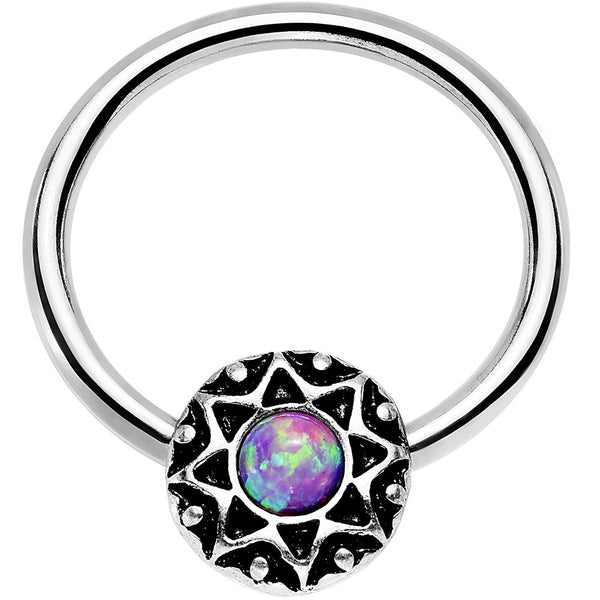 14 Gauge 9/16 Purple Faux Opal Steel Ornate Star Symbol Captive Ring
