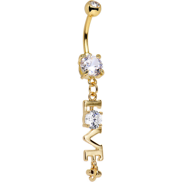 Clear Gem Gold Anodized Lots of Love Dangle Belly Ring
