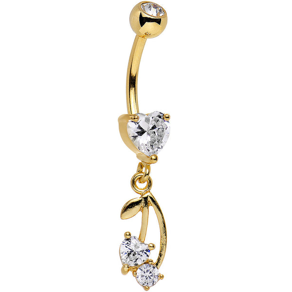 Clear Gem Gold Anodized Life is  Pair of Cherries Dangle Belly Ring