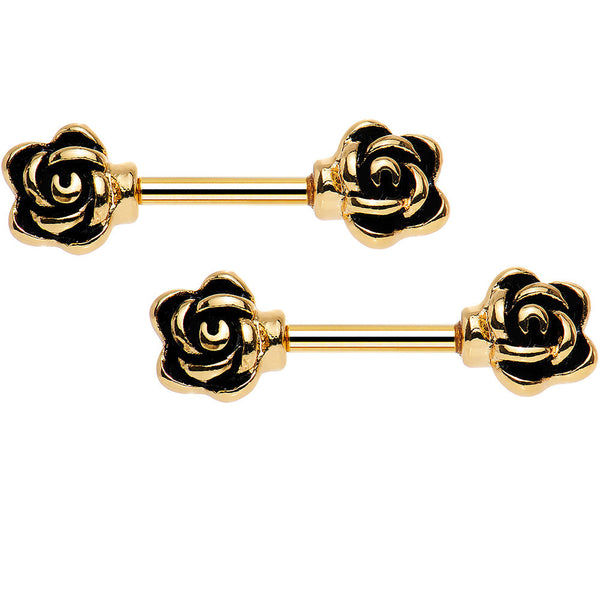 14 Gauge 3/8 Rose Gold Anodized Rose Ended Nipple Barbell Set