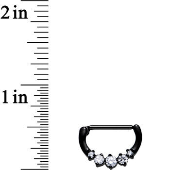 Black PVD 316L Glam Nipple Clicker Created with Swarovski Crystals