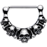 316L Stainless Steel Five Scary Skulls Nipple Clicker