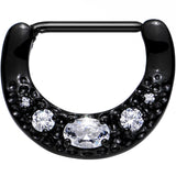 Black PVD 316L Bold Nipple Clicker Created with Swarovski Crystals