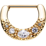 Gold PVD 316L Bold Nipple Clicker Created with Swarovski Crystals