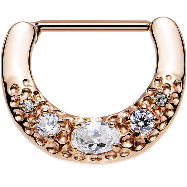 Rose Gold PVD 316L Bold Nipple Clicker Created with Swarovski Crystals
