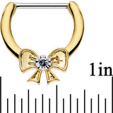 14 Gauge 1/2 Clear Steel 14kt Gold Plated Ribbon Bow Nipple Clicker Set