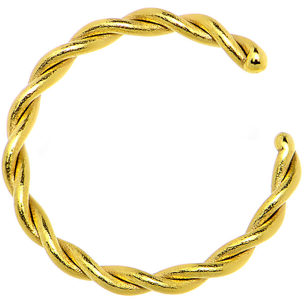 16 Gauge 5/16 Gold IP Annealed Steel Seamless Braided Circular Ring