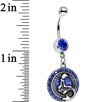 Royal Blue Gem Mythical Mermaid Dangle Belly Ring