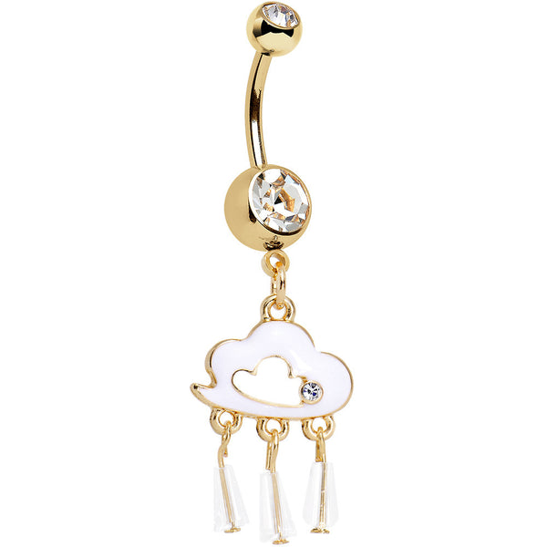 Clear Gem Gold Anodized Drops of White Rain Cloud Dangle Belly Ring