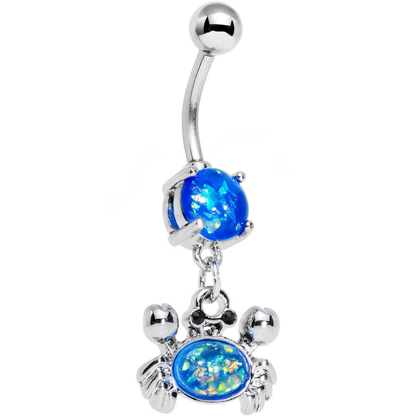 Aqua Blue Faux Opal Get Ready to Grab a Crab Dangle Belly Ring