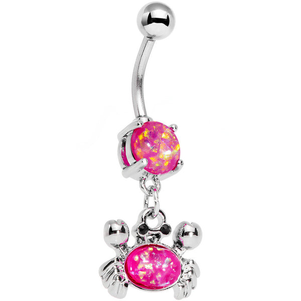 Pink Faux Opal Get Ready to Grab a Crab Dangle Belly Ring
